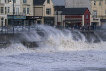 16-10-2017 - Waves from Storm Ophelia smashing into seafront and seawall, Porthcawl, South Wales © Paul Box