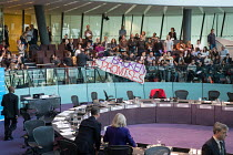 16-11-2017 - London Assembly members leaving the chamber as Switched On London environmental campaigners bring Mayors Question Time to a standstill to demand Mayor Sadiq Khan keeps his climate promises. City Hall,... © Philip Wolmuth