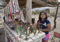 05-11-2017 - Boquillas del Carmen, Coahuila, Mexico A girl selling handicrafts in the small border town of Boquillas del Carmen. Wire sculptures and embroidered textiles. The town is popular with tourists who cros... © Jim West