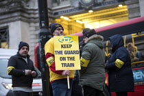 08-01-2018 - RMT picket line, dispute over safety and guards on trains, Waterloo Station London © Jess Hurd
