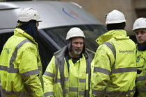 15-01-2018 - Worried Briggs Amasco subcontractors. Carillion liquidation has put thousands of jobs at risk. Work has stopped on the 700 million Paradise redevelopment in Birmingham city centre © John Harris