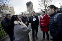 19-01-2018 - Palestinian firefighters visiting Grenfell meeting Judy from Justice for Grenfell in a solidarity. The firefighters have been training in Scotland with the support of the FBU and Scottish Government.... © Jess Hurd
