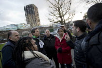 19-01-2018 - Palestinian firefighters visiting Grenfell meet Judy from Justice for Grenfell in a solidarity visit. The firefighters have been training in Scotland with the support of the FBU and Scottish Governmen... © Jess Hurd