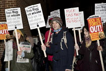 01-02-2018 - Protest against In Conversation with Jacob Rees-Mogg MP, Mile End Institute, Queen Mary and Westfield University, London. Kick out the anti-choice homophobes © Jess Hurd