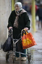03-02-2018 - Elderly woman shopping, Gloucester city centre © John Harris