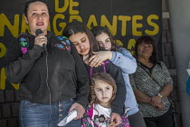 03-02-2018 - Richmond Detention Center, California USA People of faith vigil against imprisonment of immigrants. Lourdes speaking and her daughters Sofia, Anna and Isabel, her husband Fernando has been detained fo... © David Bacon