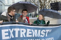 05-02-2018 - Jenny Jones, Green Party, Domestic Extremist Day protest against state spying and disruption of political organisations outside New Scotland Yard, Embankment, London © Jess Hurd