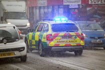 01-03-2018 - An ambulance on the snow covered streets of Bristol. © Paul Box