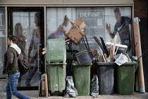05-03-2018 - Rubbish piled up outside a personal training studio, Define London, Fitzrovia, London © Jess Hurd