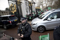 07-03-2018 - School children welcoming Saudi Prince Mohammed Bin Salman outside Buckingham Palace where he was to lunch with the Queen. The pupils are from The King Fahad Academy School, London. Armed Police guard... © Jess Hurd