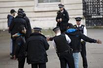 07-03-2018 - Police stop and search Bahrain activists, protest against Saudi Prince Mohammed Bin Salman visit, Downing Street, London © Jess Hurd