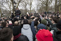 18-03-2018 - Football Lads Alliance and supporters of Tommy Robinson protest against far right speakers being refused entry to the UK, Speakers Corne, Hyde Park, London. Robinson reading a speech written by fellow... © Jess Hurd