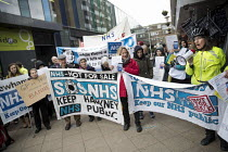 29-03-2018 - Anna Livingstone GP, GPs and patients protest against GP at Hand, an online NHS service taking money away from local GP surgeries. Chrisp Street, Poplar, Tower Hamlets, East London © Jess Hurd