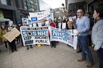 29-03-2018 - Dr Leon Clark GP at Chrisp St Surgery speaking, GPs and patients protest against GP at Hand, an online NHS service taking money away from local GP surgeries. Chrisp Street, Poplar, Tower Hamlets, East... © Jess Hurd