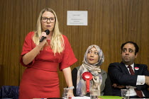 09-04-2018 - Labour Councillor Lorna Russell speaking, Hustings with Conservative, Labour, Liberal Democrats and Green local election candidates for 2 of the 18 council wards, Camden, London. Nazma Rahman (C), Pet... © Philip Wolmuth