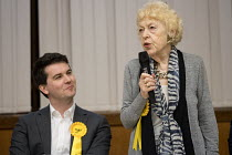 09-04-2018 - Flick Rea (R) Liberal Democrats speaking Hustings with Conservative, Labour, Liberal Democrats and Green local election candidates for 2 of the 18 council wards, Camden, London © Philip Wolmuth