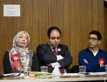 09-04-2018 - Hustings with Conservative, Labour, Liberal Democrats and Green local election candidates for 2 of the 18 council wards, Camden, London. Nazma Rahman (L) Peter Taheri (C) Shiva Tiwari (R) © Philip Wolmuth