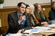 09-04-2018 - Hustings with David Brescia Conservative, Labour, Liberal Democrats and Green local election candidates for 2 council wards Camden, London © Philip Wolmuth
