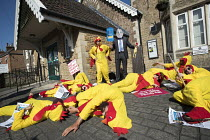 20-04-2018 - Giant chlorinated chickens opposing a US trade deal visiting Somerset constituency surgery of Liam Fox MP, protest organised by Global Justice Now over the concern that hormone treated, chlorine washe... © Jess Hurd