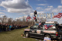 28-04-2018 - Washington Township, Michigan USA: President Donald Trump campaign rally. Entertainment outside as supporters queue © Jim West