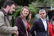 02-05-2018 - Sadiq Khan with Camden Council leader Georgia Gould and candidate Sorin Floti. Labour Party local election campaign, Fortune Green, West Hampstead and Swiss Cottage wards, London Borough of Camden. © Philip Wolmuth