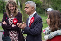 02-05-2018 - Sadiq Khan with Camden Council leader Georgia Gould. Labour Party local election campaign, Fortune Green, West Hampstead and Seiss Cottage wards, London Borough of Camden. © Philip Wolmuth