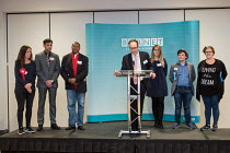 04-05-2018 - John Hooton, Returning Officer, announcing the result for Burnt Oak ward (Labour hold). London Borough of Barnet local election count. © Philip Wolmuth