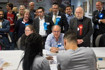 04-05-2018 - Labour and Conservative candidates and scrutineers, Golders Green ward. London Borough of Barnet local election count. © Philip Wolmuth
