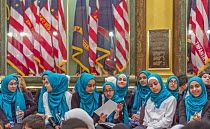 09-05-2018 - Lansing, Michigan, USA: Muslim high school students visiting the Michigan state capitol, annual Michigan Muslim Capitol Day © Jim West