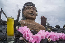 22-02-2018 - Kalapana, Hawaii: Sculpture of Queen Liliuokalani. Artifacts asserting native sovreignty on the field of lava from the Kilauea volcano © David Bacon