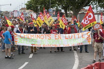 26-05-2018 - Roanne, France: Protest by railway workers against Macron privatisation of the French National Railways (SNCF) and removal of railway workers statute. For a public railway © Pierre Gleizes