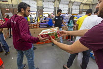 09-06-2018 - Novi, Michigan, USA: Muslim volunteers packing food boxes for the poor in the Detroit during the holy month of Ramadan © Jim West