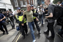 10-06-2018 - Far right and pro Israeli protest counter the annual Al Quds pro Palestine demonstration, London. Police making an arrest © Jess Hurd