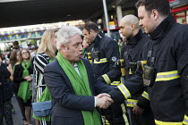 14-06-2018 - John Bercow, Speaker of the House thanking the firefighters. Silent march in memory of the victims of Grenfell Tower fire on the first anniversary, Kensington, London © Jess Hurd