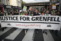 14-06-2018 - Silent march in memory of the victims of Grenfell Tower fire on the first anniversary, Kensington, London © Jess Hurd