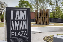 25-04-2018 - Memphis, Tennessee, USA: I Am A Man Plaza commemorating the 1968 sanitation strike and the assasination of Martin Luther King Jr. It is next to the Clayborn Temple where civil rights leaders were base... © Jim West