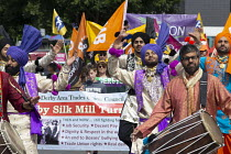 23-06-2018 - Silk Mill March, Derby. Remembering the workers locked out by the owners for joining a trade union in 1834. Bhangra dancers © John Harris
