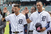 25-06-2018 - Detroit, Michigan USA Immigrants are sworn in as new US citizens in a ceremony before a Detroit Tigers baseball game, Comerica Park. Tigers shortshop Jose Iglesias (L) and center fielder Leonys Martin... © Jim West