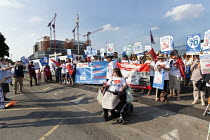 05-07-2018 - Unions and Keep Our NHS Public NHS 70th anniversary protest outside the unfinished Midland Metropolitan Hospital, construction of which stopped when Carillion went into liquidation © John Harris
