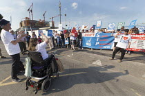 05-07-2018 - Unions and Keep Our NHS Public NHS 70th anniversary protest outside the unfinished Midland Metropolitan Hospital, construction of which stopped when Carillion went into liquidation. Jae Robinson, Unit... © John Harris