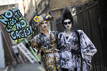 13-07-2018 - Cheddar Gorgeous and Liquorice Black Drag protest from Soho, Together Against Trump protest against the visit to the UK by US President Donald Trump, London © Jess Hurd
