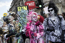 13-07-2018 - Cheddar Gorgeous, Ana Phylactic as Liberty and Liquorice Black Drag protest from Soho, Together Against Trump protest against the visit to the UK by US President Donald Trump, London © Jess Hurd