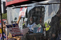 14-07-2018 - Pro Trump and Tommy Robinson supporters blocking a bus intimidating a Muslim women driver, Whitehall, London © Jess Hurd