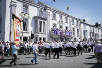 14-07-2018 - Banners pass balcony of The County Hotel, Durham Miners Gala, 2018 © Mark Pinder