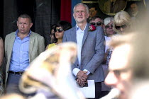 14-07-2018 - Brass band playing on the racecourse. Jeremy Corbyn, Durham Miners Gala, 2018 Howard Beckett, Unite (L) © Mark Pinder