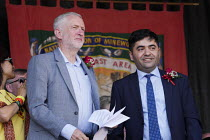 14-07-2018 - Jeremy Corbyn with Ibrahim Dogus of the Free Abdullah Ocalan campaign 2018 Durham Miners Gala © Mark Pinder