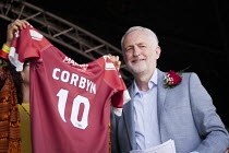 14-07-2018 - Jeremy Corbyn presented with a 'Marras' Friends of the Gala football shirt, Durham Miners Gala, 2018 © Mark Pinder