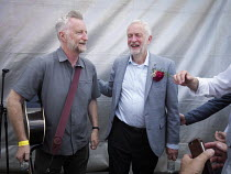 14-07-2018 - Jeremy Corbyn with musician Billy Bragg, Durham Miners Gala, 2018 © Mark Pinder