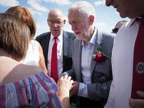 14-07-2018 - Jeremy Corbyn and Alan Cummings DMA talking to supporters, Durham Miners Gala, 2018 © Mark Pinder