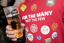 22-07-2018 - Tolpuddle Martyrs' Festival, Dorset 2018, For the Many Not the Few Labour Party T-shirt, Liberty beer glass © Jess Hurd